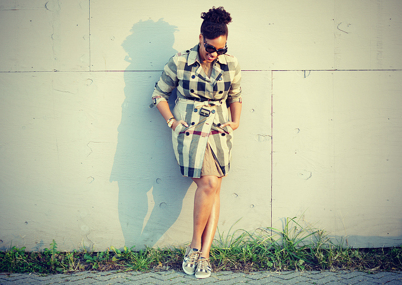 Burberry Plaid Trench, Burberry Nova Check Sneakers, Ralph Lauren Rugby Cable-Knit Sweater Dress, Prada Baroque Sunglasses