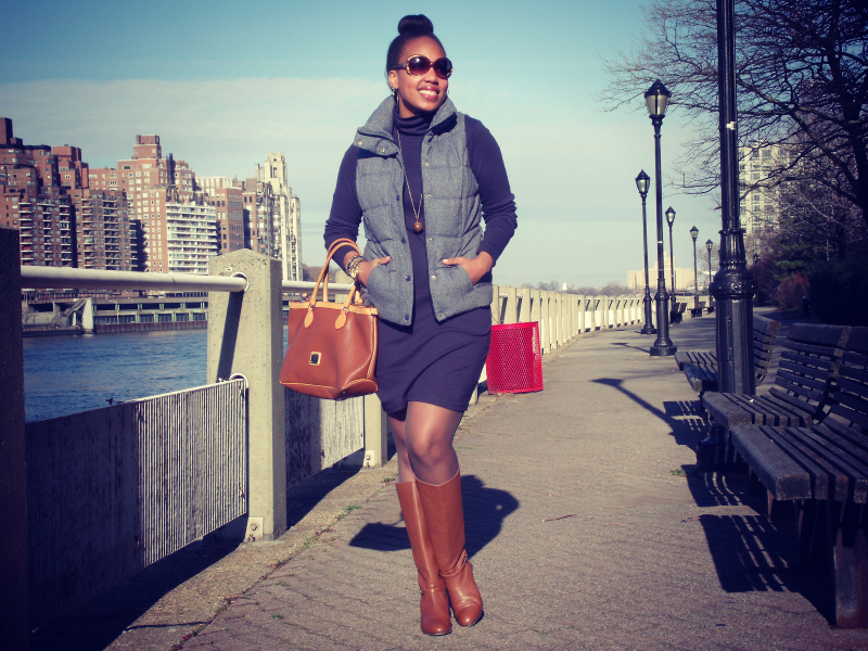 {Old Navy  Frost-Free Vest, American Apparel Solid Rib Turtleneck Dress,  Dooney & Bourke Handbag, J. Crew Booker Boots, Fendi Sunglasses, H&M Necklace, Forever 21 Bangles,  Michael Kors Watch}