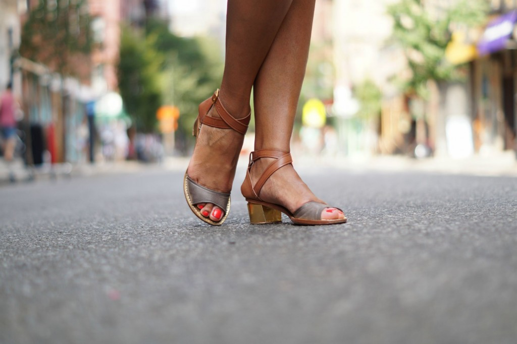 Strappy Low-Heeled Sandals