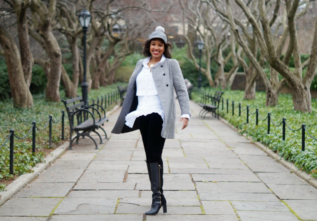 Grey Tweed Coat, White Banana Republic Blouse, Kate Spade Leather Boots, Grey Pom Baseball Cap