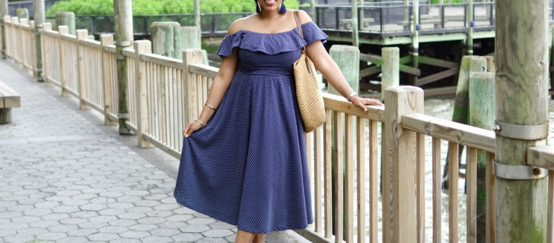 H&M Polka Dot Dress, Off-the-Shoulder Midi Dress, NYC Fashion Blogger, How to Wear Polka Dots
