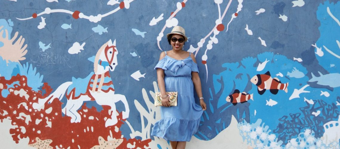 Old Navy Chambray Dress, Cold Shoulder Dress, NYC Fashion Blogger, NYC Street Art, Instagram Wall, Coney Island Murals