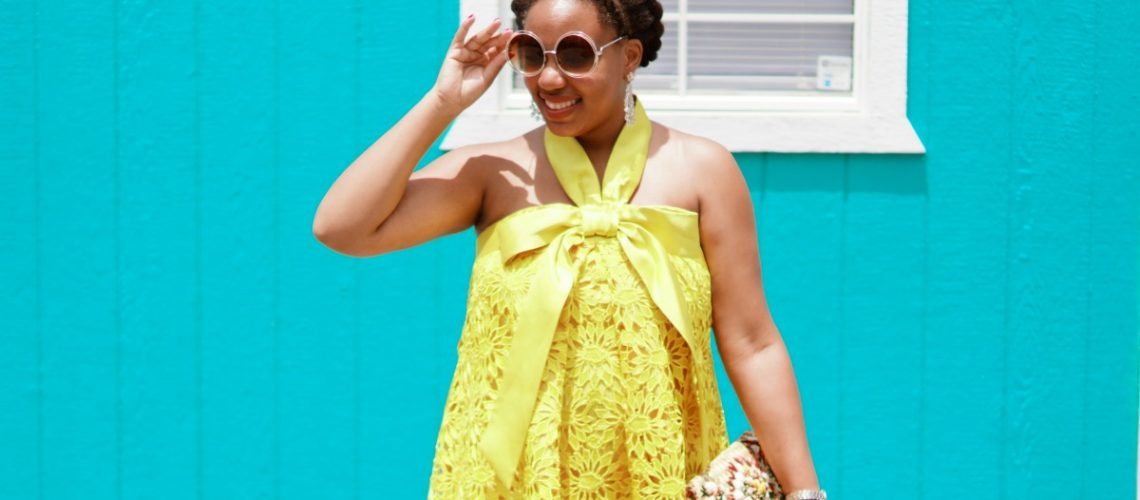 asos salon, yellow lace dress, nyc fashion blogger