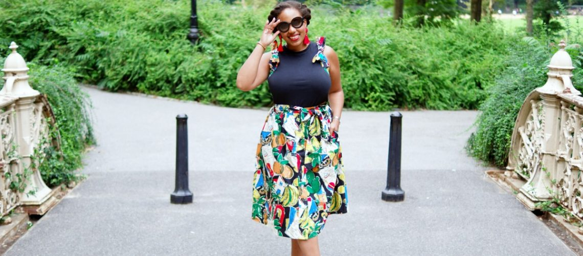 J. Crew Postcard Print Skirt & Top, J. Crew Bow Top, NYC Fashion Blogger, Central Park