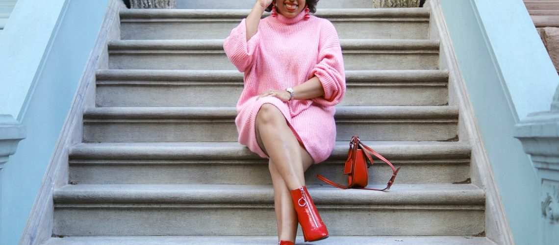 Pink & Red, Sweater Dress, how to wear pink and red, nyc fashion blogger, closet confections, red ankle boots