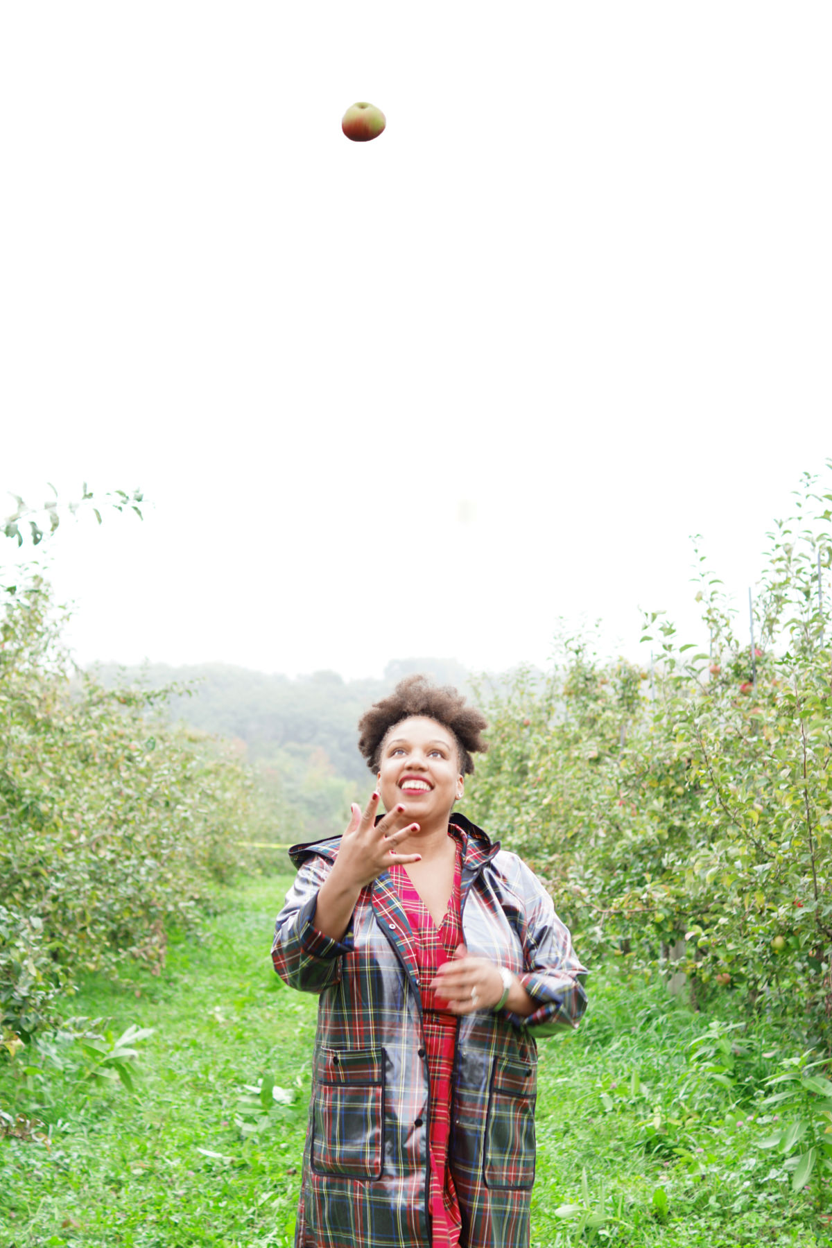 fall foliage, family road trip, adirondacks, hicks orchard, plaid dress, apple picking