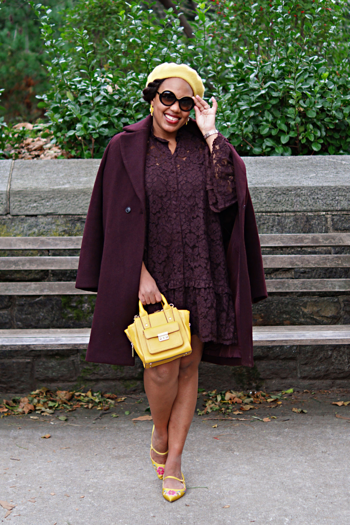 wine colored coat, fall 2018 fashion